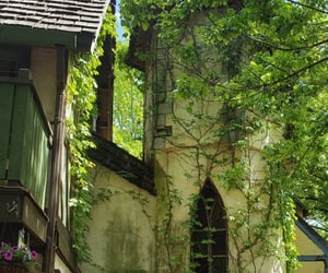 cottage, tower, and flowers image