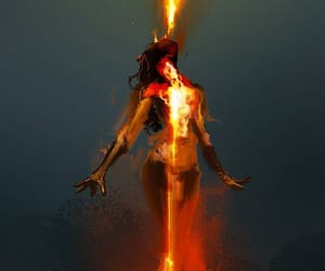 female, fire, and intense image
