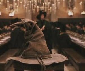 harry potter, hogwarts, and sorting hat image