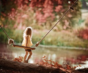 little girl, photography, and swing image