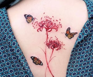 butterfly, flowers, and tattoo image