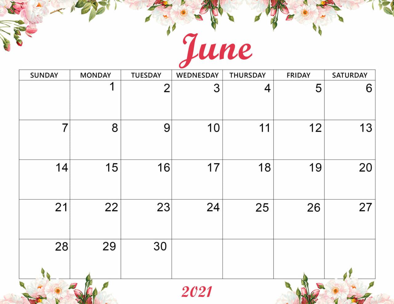article and cute june 2021 calendar image