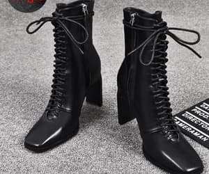 ankle boots, black heels, and cute shoes image