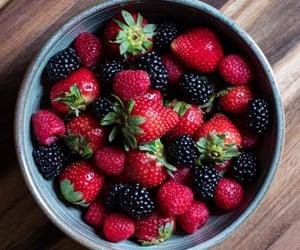 black, strawberries, and blackberries image