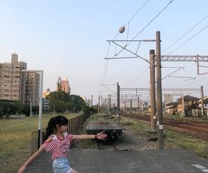 夕陽, 鐵道, and 走路 image