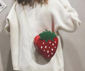 strawberry, bag, and red image