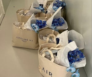air, blue flowers, and flowers image