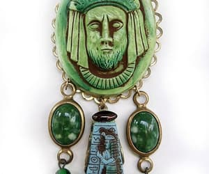 dangles, green glass brooch, and etsy image