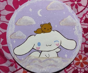 cinnamoroll, clouds, and paint image