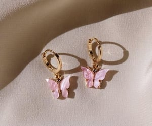 butterfly, pink, and earrings image