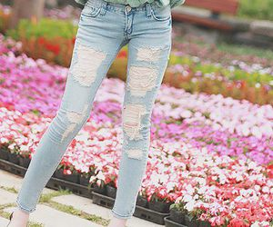 jeans, flowers, and blue image