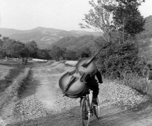 music, black and white, and bike image