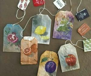 art, tea, and fruit image