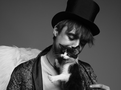 cat, black and white, and hat image