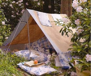 tent, flowers, and camping image