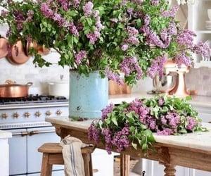 kitchen, vase, and liliacs image