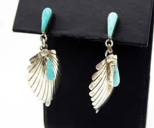 dangling, feathers, and sterling silver image