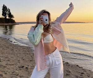 beach, white jeans, and fashion image