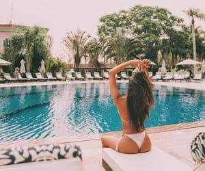 bikinis, lady, and pool image