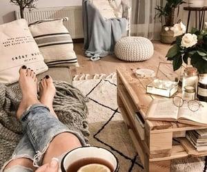 home, tea, and drinking tea image