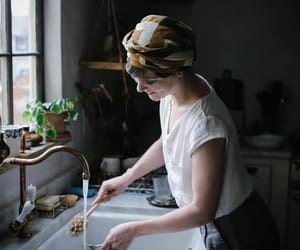 head scarf and kitchen image