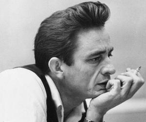 Johnny Cash, music, and black and white image