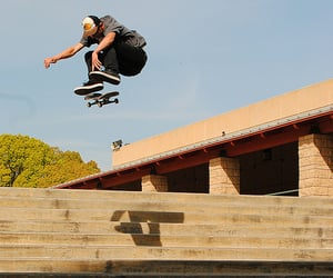 people, skateboarding, and boarding image
