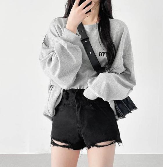 denim shorts, korean fashion, and minimal image