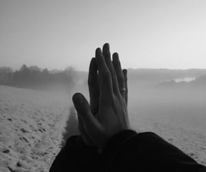 b&w, love, and hand image