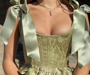 fashion, green, and corset image