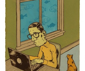 cat, computer, and geek image
