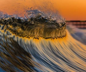 sunset, ocean, and wave image