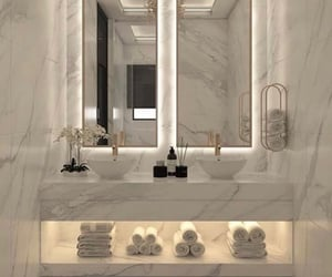 bathroom, marble, and flowers image
