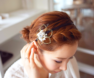 hair, fashion, and flower image