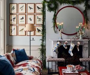 christmas, living room, and fireplace image