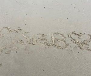 beach, seb, and heart image