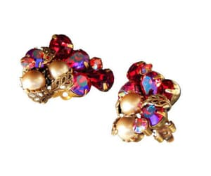 etsy, rhinestone earrings, and red rhinestone image