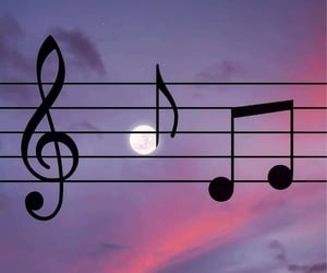 full moon, music, and notes image