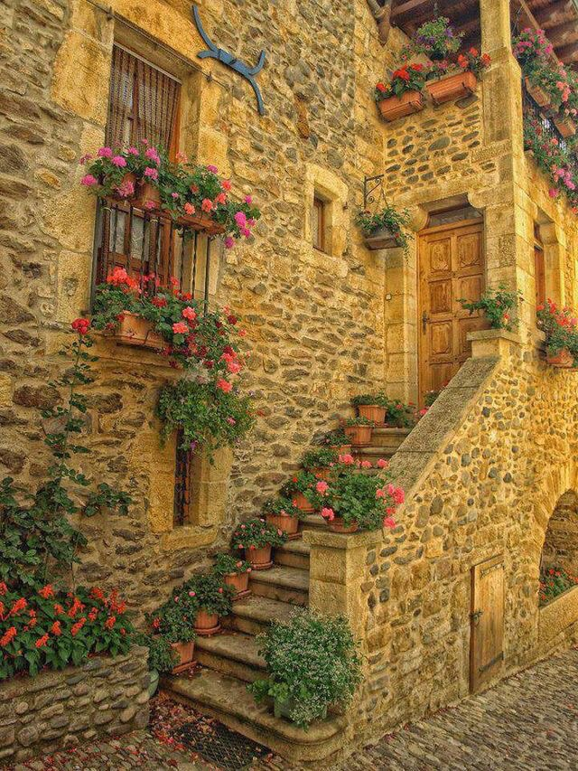 house, flowers, and france image