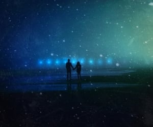 couple, light, and stars image