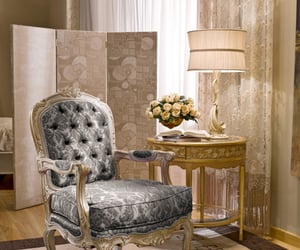chair, decor, and flowers image