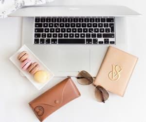 sunglasses, macbook, and laptop image