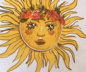 drawing, flowers, and sun image