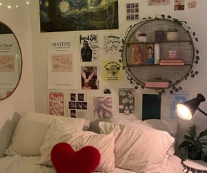 bed, posters, and room inspo image
