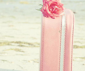 pink, rose, and suitcase image