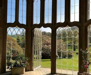 big windows, garden, and room image