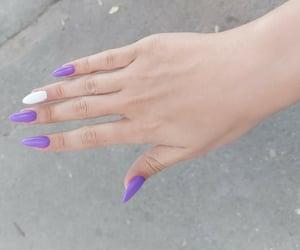 nails, purple nails, and white nails image