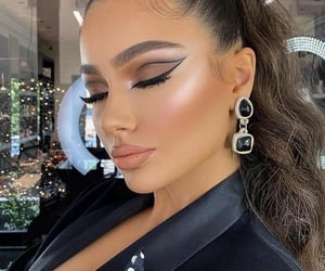 makeup, eyeliner, and lips image