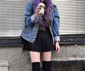 grunge outfit and denim skirt . grunge image