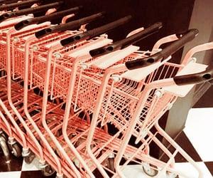 carts, pink, and shopping image